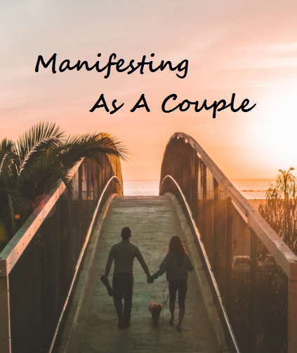 couple walking and holding hands over a wooden bridge to the beach, their dog walks in the middle of them, manifest 101 - manifesting as a couple