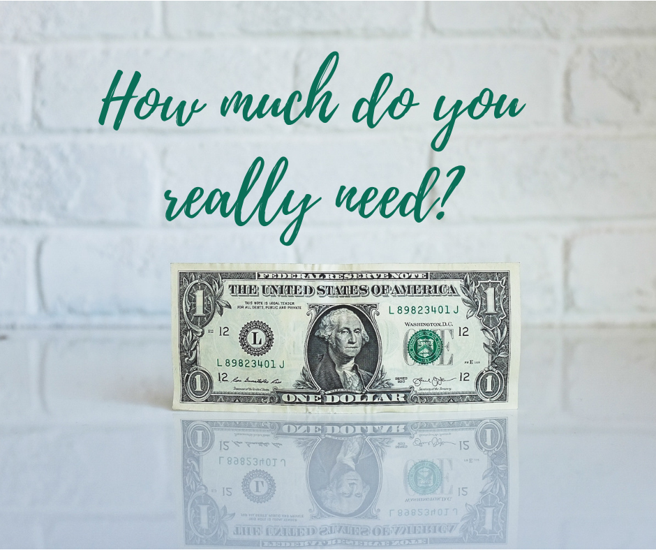 a dollar note and the wording how much do you really need, how to deal with money issues