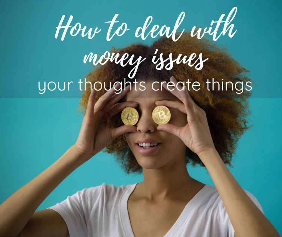 African-American woman with curly black hair and a currency coin in front of each of her eyes, how to deal with money issues