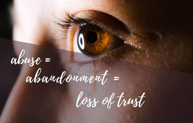 woman with brown eyes looking in a direction, searching for something, How Abuse Creates Abandonment that Leads to Loss of Trust