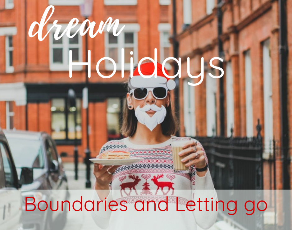a woman with eggnog and pancakes, santa claus hat and beard, The Number One Secret to Make Your Holidays a Dream: Boundaries and Letting Go