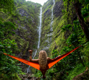 mountain, waterfall, namaste, peace, love, hammock, mountain, nature, peace, vacation, free, freedom, pain free, woman, hair