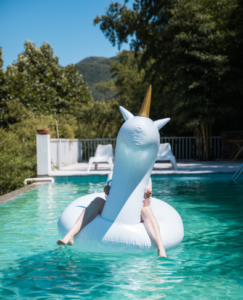 unicorn, float, pool, nature, trees, me time