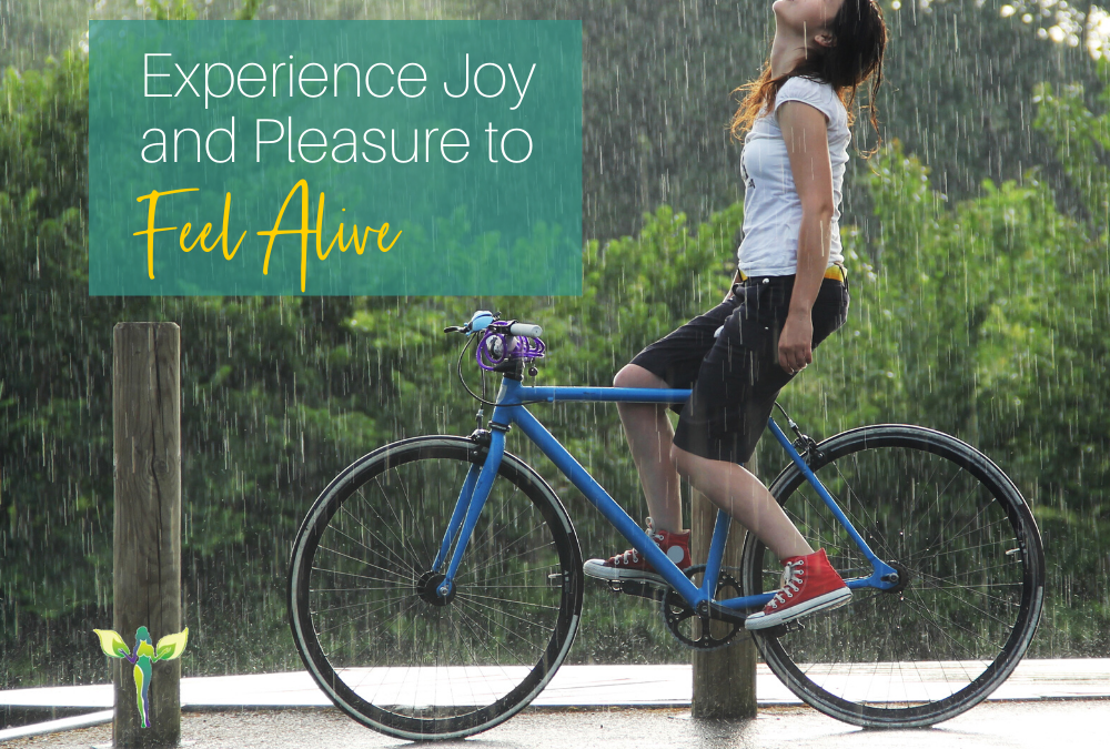 woman on a bike in the rain, Experience Joy and Pleasure to Feel Alive