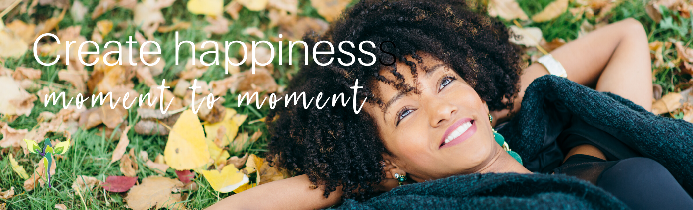 woman laying on the grass covered with leafs, create happiness moment for moment