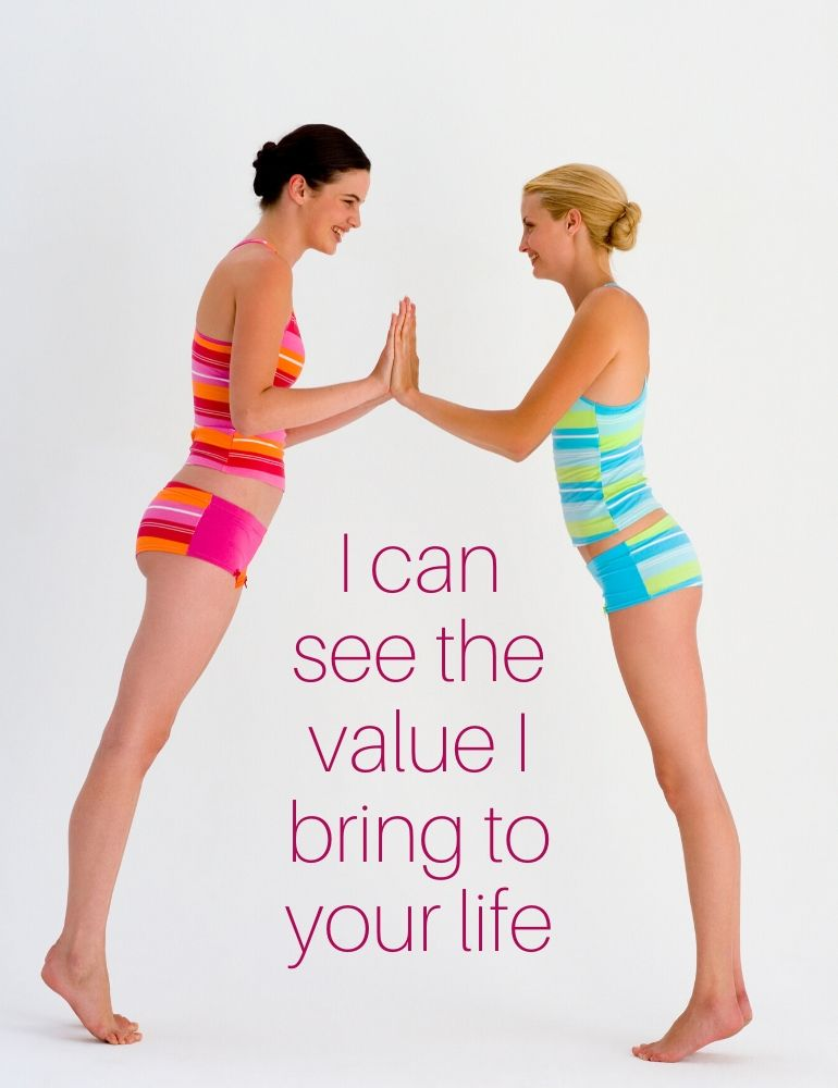 two women supporting one another, having their hands flat on the other woman's hand, in colorful bathing suites and hair up to a knot, staying on their toes, I support you and see the value I bring to your life